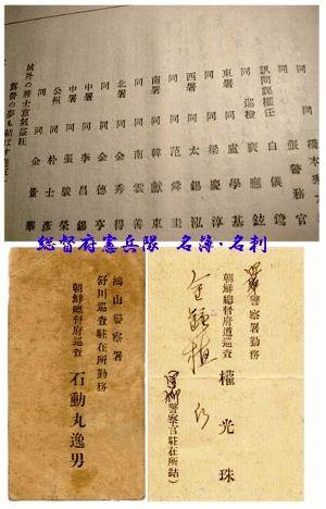 朝鮮の警察官の名簿・名刺