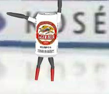 スケートするビール缶
