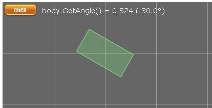 Box2d b2BodyDef angleのデモの画像