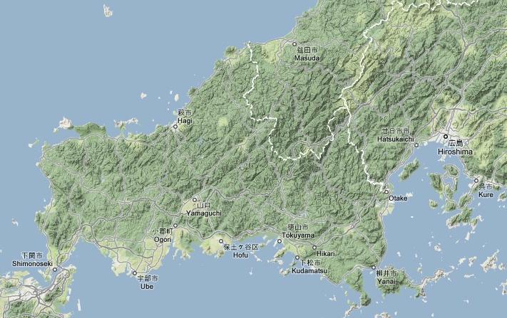 長州・萩の位置
